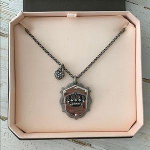Juicy Couture Shield Necklace Silver/Gun Metal